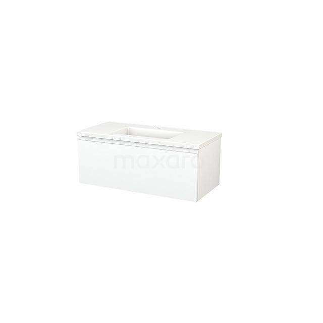 Badkamermeubel 100cm Modulo+ Mat Wit 1 Lade Greeploos Wastafel Keramiek BMP001857