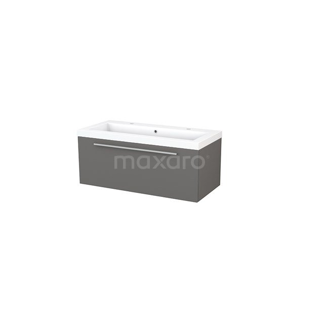 Badkamermeubel 100cm Modulo+ Basalt 1 Lade Vlak Wastafel Mineraalmarmer BMP001861