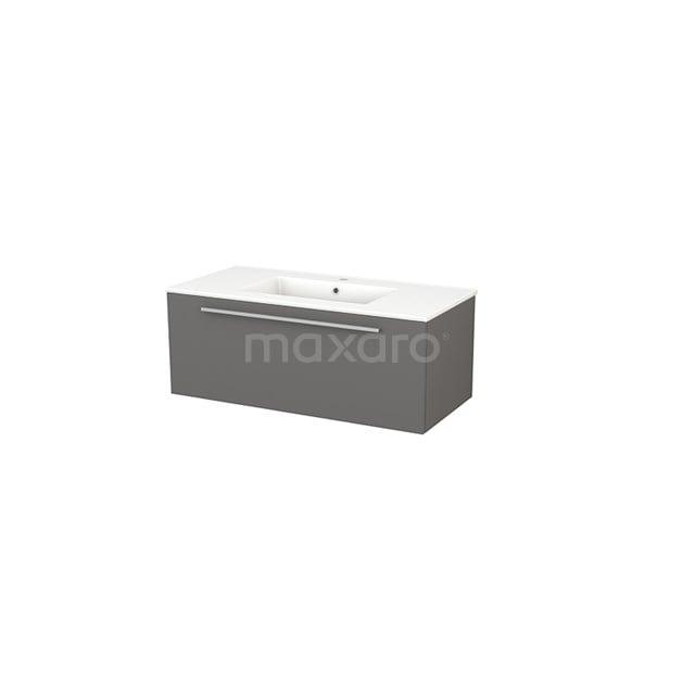 Badkamermeubel 100cm Modulo+ Basalt 1 Lade Vlak Wastafel Keramiek BMP001866