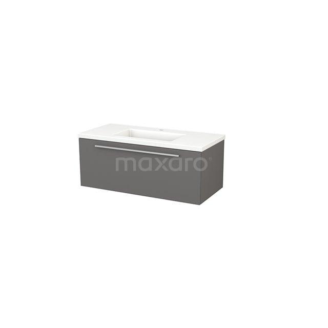 Badkamermeubel 100cm Modulo+ Basalt 1 Lade Vlak Wastafel Keramiek BMP001868