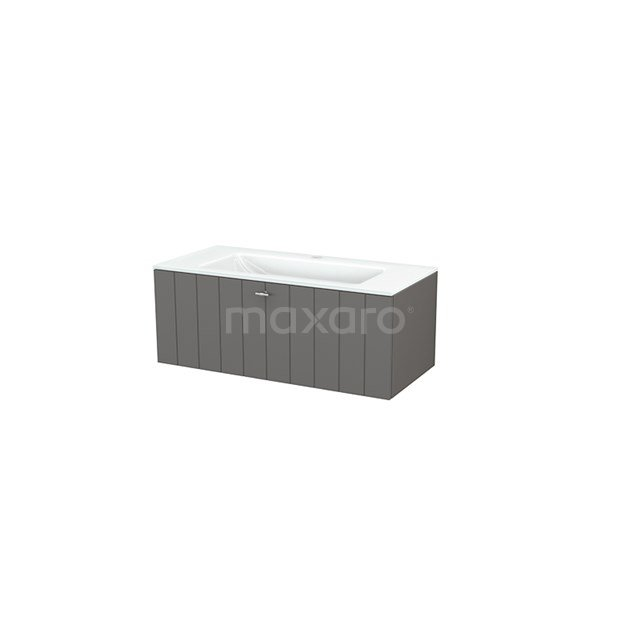 Badkamermeubel 100cm Modulo+ Basalt 1 Lade Lamel Wastafel Glas BMP001869
