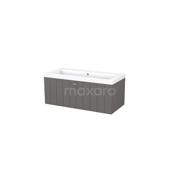 Badkamermeubel 100cm Modulo+ Basalt 1 Lade Lamel Wastafel Mineraalmarmer BMP001871