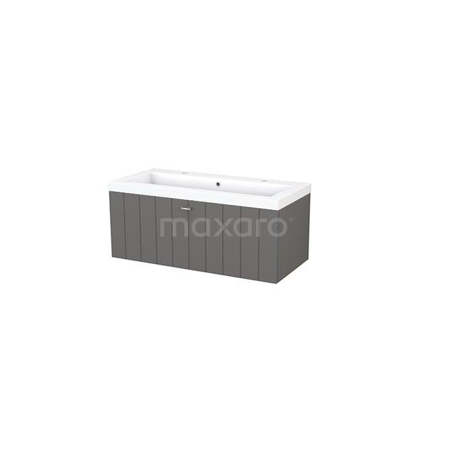 Badkamermeubel 100cm Modulo+ Basalt 1 Lade Lamel Wastafel Mineraalmarmer BMP001872
