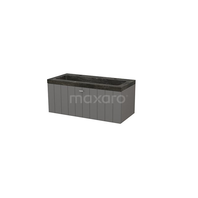 Badkamermeubel 100cm Modulo+ Basalt 1 Lade Lamel Wastafel Natuursteen Blue Stone BMP001875