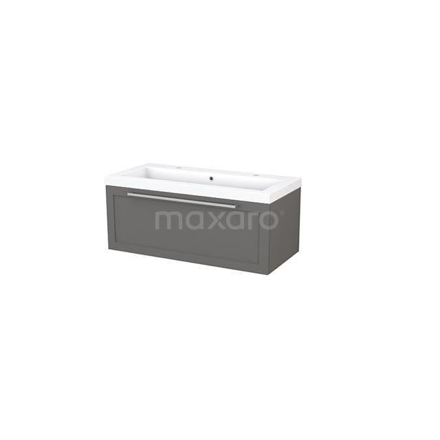 Badkamermeubel 100cm Modulo+ Basalt 1 Lade Kader Wastafel Mineraalmarmer BMP001883