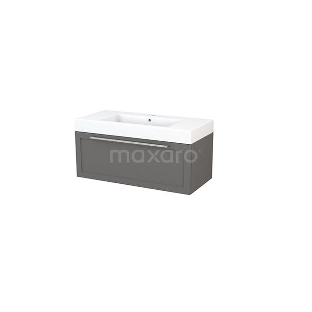 Badkamermeubel 100cm Modulo+ Basalt 1 Lade Kader Wastafel Mineraalmarmer BMP001887