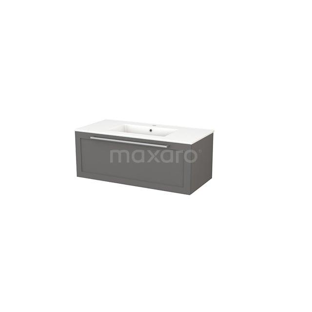 Badkamermeubel 100cm Modulo+ Basalt 1 Lade Kader Wastafel Keramiek BMP001888
