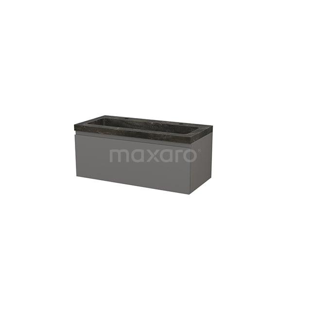 Badkamermeubel 100cm Modulo+ Basalt 1 Lade Greeploos Wastafel Natuursteen Blue Stone BMP001897