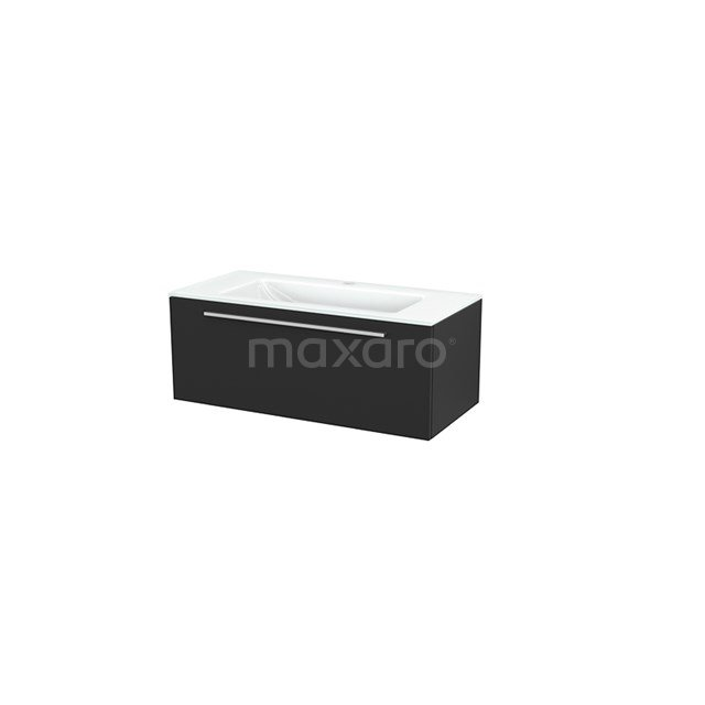 Badkamermeubel 100cm Modulo+ Carbon 1 Lade Vlak Wastafel Glas BMP001902
