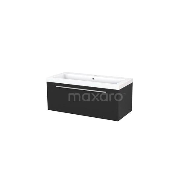 Badkamermeubel 100cm Modulo+ Carbon 1 Lade Vlak Wastafel Mineraalmarmer BMP001906