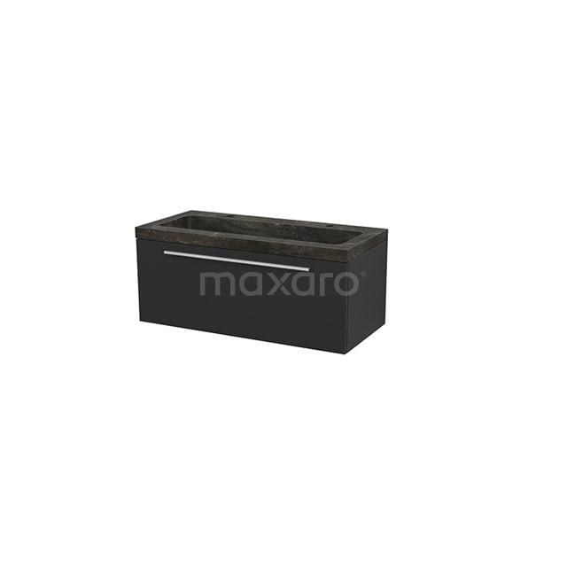 Badkamermeubel 100cm Modulo+ Carbon 1 Lade Vlak Wastafel Natuursteen Blue Stone BMP001908