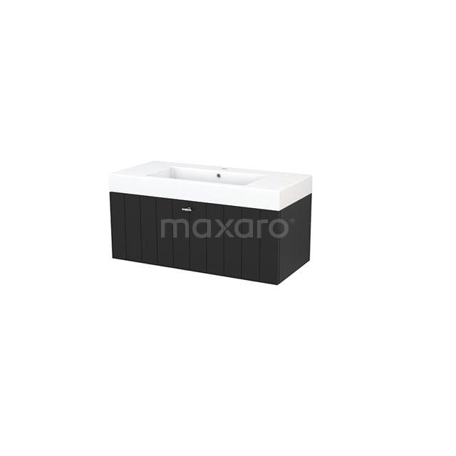 Badkamermeubel 100cm Modulo+ Carbon 1 Lade Lamel Wastafel Mineraalmarmer BMP001920