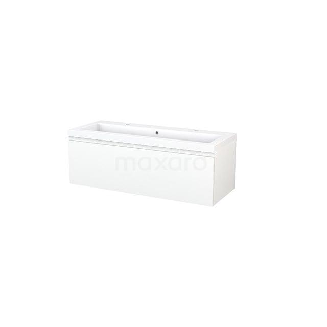 Badkamermeubel 120cm Modulo+ Mat Wit 1 Lade Greeploos Wastafel Mineraalmarmer BMP002108