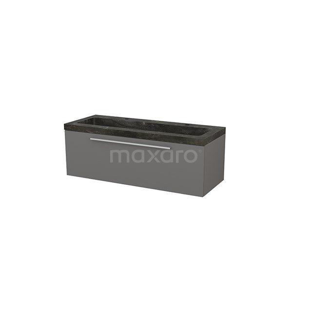 Badkamermeubel 120cm Modulo+ Basalt 1 Lade Vlak Wastafel Natuursteen Blue Stone BMP002123