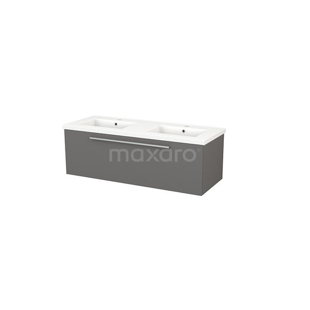 Badkamermeubel 120cm Modulo+ Basalt 1 Lade Vlak Wastafel Keramiek BMP002128