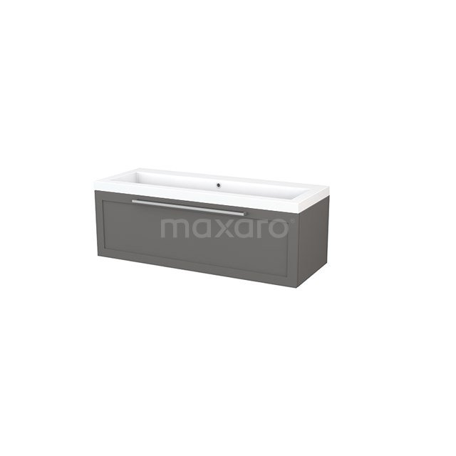 Badkamermeubel 120cm Modulo+ Basalt 1 Lade Kader Wastafel Mineraalmarmer BMP002145