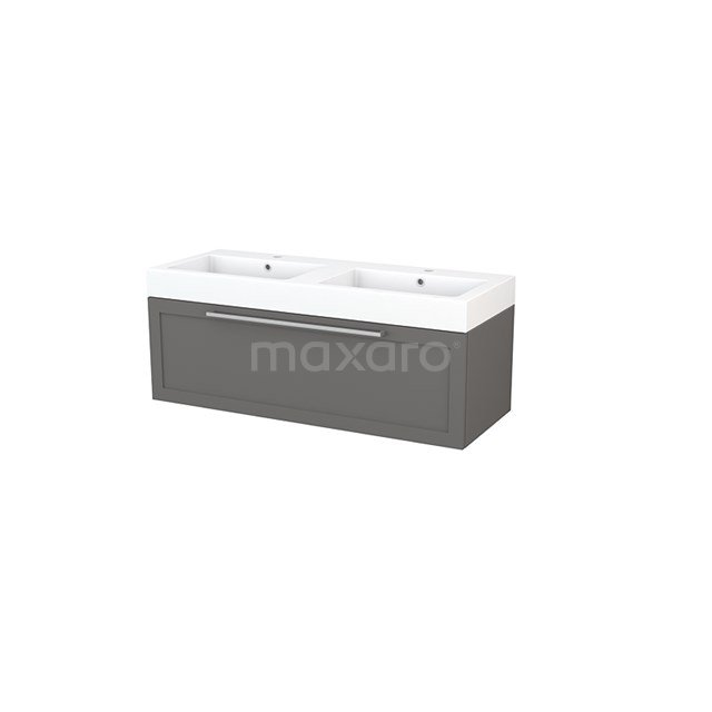 Badkamermeubel 120cm Modulo+ Basalt 1 Lade Kader Wastafel Mineraalmarmer BMP002152