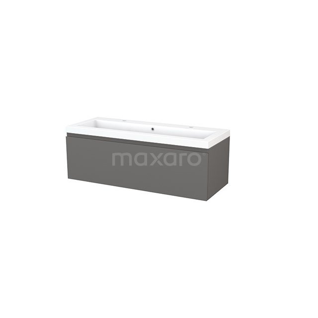 Badkamermeubel 120cm Modulo+ Basalt 1 Lade Greeploos Wastafel Mineraalmarmer BMP002160