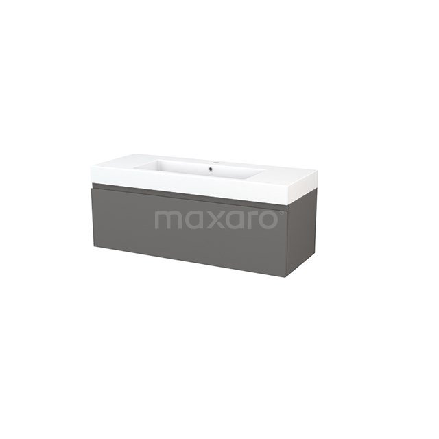 Badkamermeubel 120cm Modulo+ Basalt 1 Lade Greeploos Wastafel Mineraalmarmer BMP002164