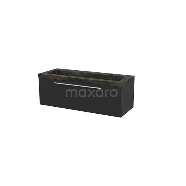 Badkamermeubel 120cm Modulo+ Carbon 1 Lade Vlak Wastafel Natuursteen Blue Stone BMP002175