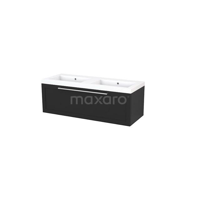 Badkamermeubel 120cm Modulo+ Carbon 1 Lade Kader Wastafel Mineraalmarmer BMP002196
