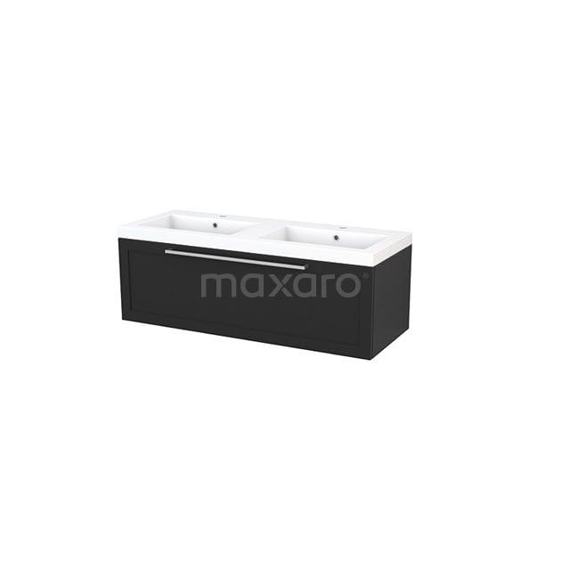 Badkamermeubel 120cm Modulo+ Carbon 1 Lade Kader Wastafel Mineraalmarmer BMP002198