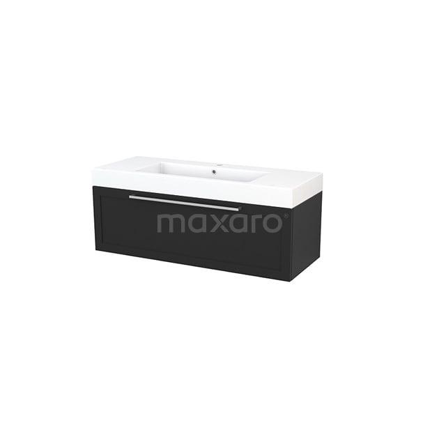 Badkamermeubel 120cm Modulo+ Carbon 1 Lade Kader Wastafel Mineraalmarmer BMP002203