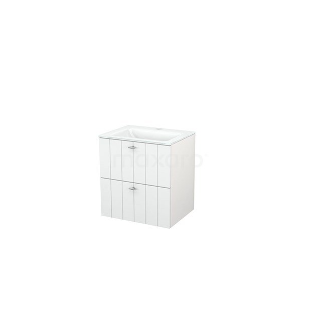 Badkamermeubel 60cm Modulo+ Hoogglans Wit 2 Lades Lamel Wastafel Glas BMP002307