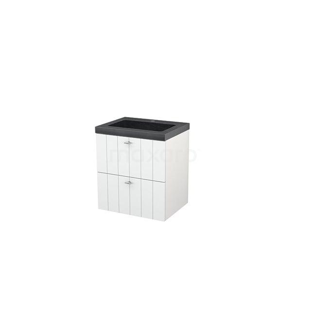 Badkamermeubel 60cm Modulo+ Hoogglans Wit 2 Lades Lamel Wastafel Natuursteen Graniet BMP002314
