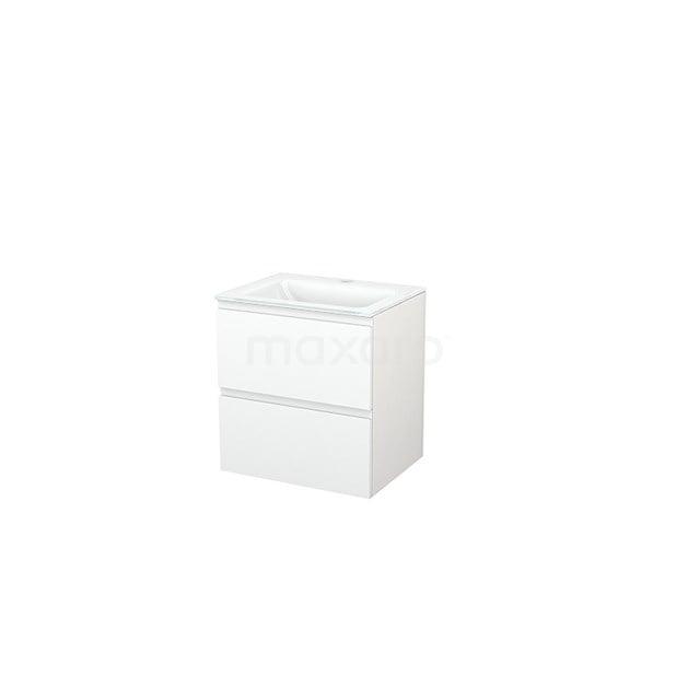 Badkamermeubel 60cm Modulo+ Mat Wit 2 Lades Greeploos Wastafel Glas BMP002361