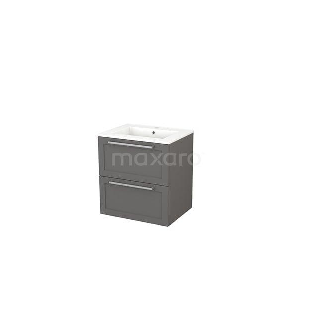 Badkamermeubel 60cm Modulo+ Basalt 2 Lades Kader Wastafel Keramiek BMP002389