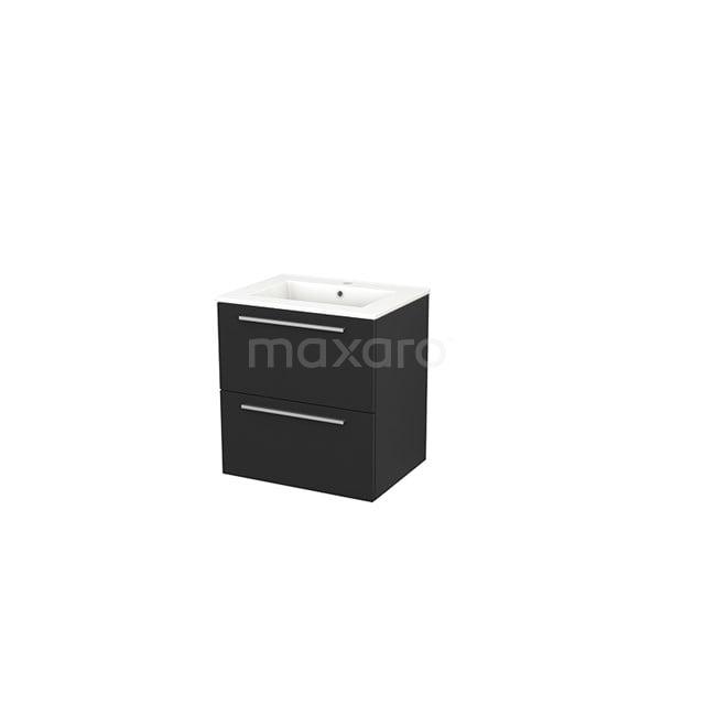 Badkamermeubel 60cm Modulo+ Carbon 2 Lades Vlak Wastafel Keramiek BMP002407