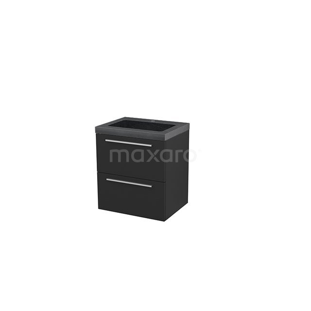 Badkamermeubel 60cm Modulo+ Carbon 2 Lades Vlak Wastafel Natuursteen Graniet BMP002413