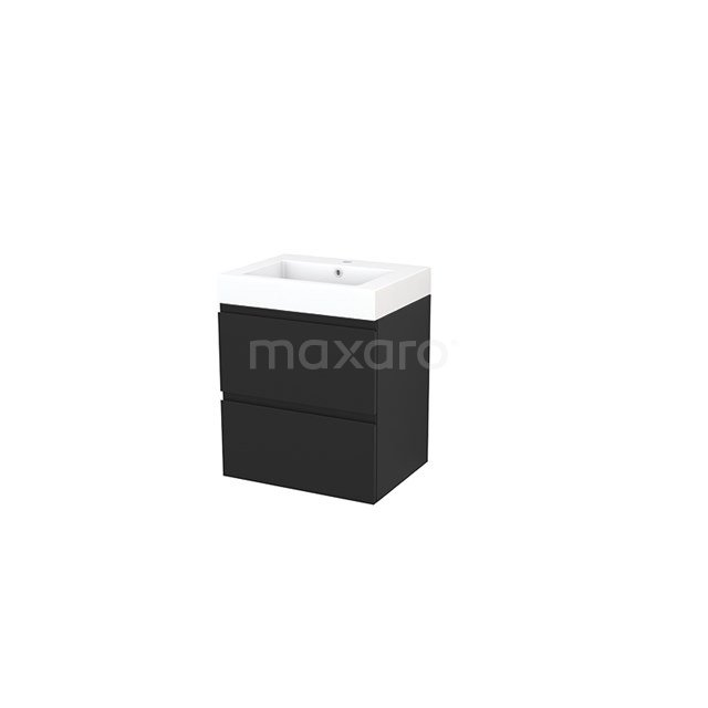 Badkamermeubel 60cm Modulo+ Carbon 2 Lades Greeploos Wastafel Mineraalmarmer BMP002439