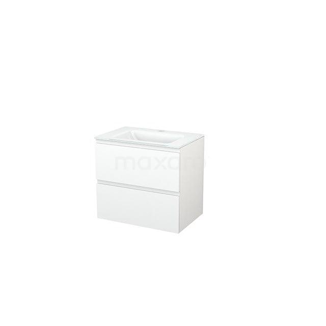 Badkamermeubel 70cm Modulo+ Mat Wit 2 Lades Greeploos Wastafel Glas BMP002552