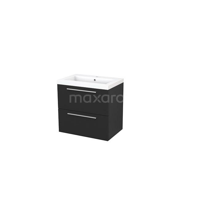 Badkamermeubel 70cm Modulo+ Carbon 2 Lades Vlak Wastafel Mineraalmarmer BMP002594