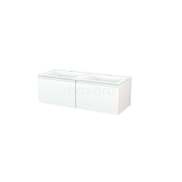 Badkamermeubel 120cm Modulo+ Mat Wit 2 Lades Greeploos Wastafel Glas BMP003652