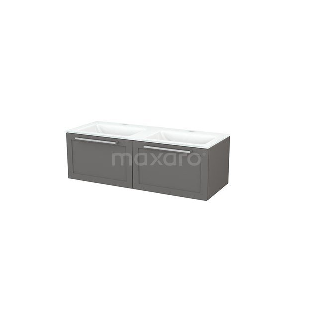 Badkamermeubel 120cm Modulo+ Basalt 2 Lades Kader Wastafel Glas BMP003676