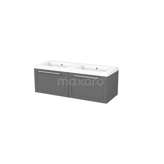 Badkamermeubel 120cm Modulo+ Basalt 2 Lades Kader Wastafel Mineraalmarmer BMP003678