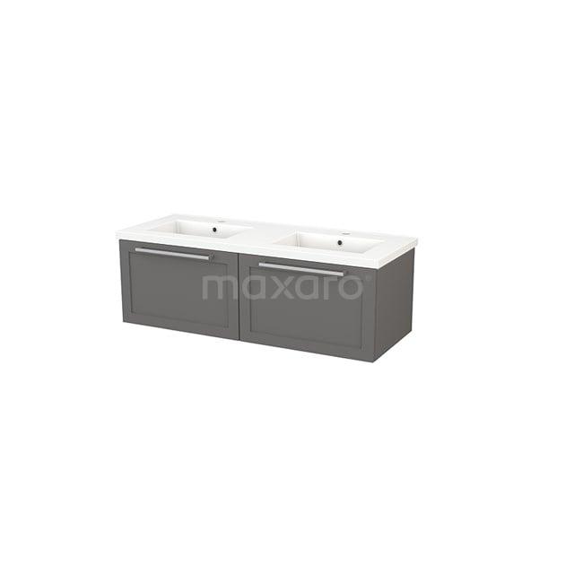 Badkamermeubel 120cm Modulo+ Basalt 2 Lades Kader Wastafel Keramiek BMP003683