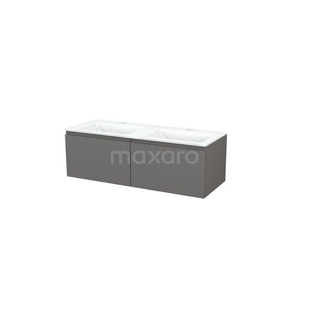 Badkamermeubel 120cm Modulo+ Basalt 2 Lades Greeploos Wastafel Glas BMP003684
