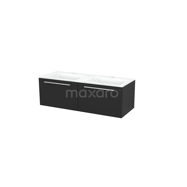 Badkamermeubel 120cm Modulo+ Carbon 2 Lades Vlak Wastafel Glas BMP003692