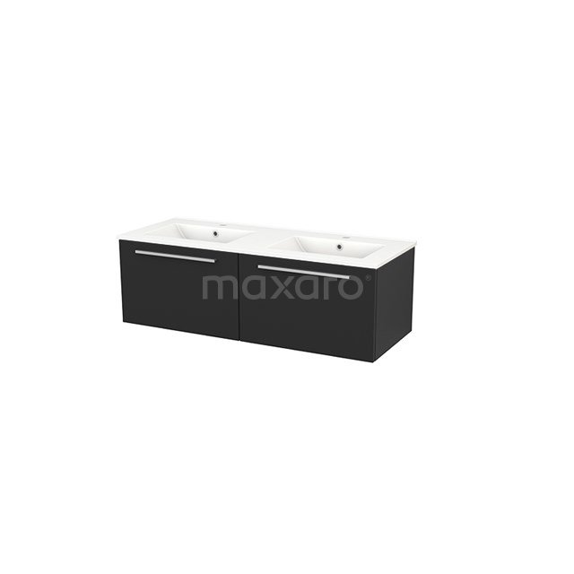 Badkamermeubel 120cm Modulo+ Carbon 2 Lades Vlak Wastafel Keramiek BMP003693