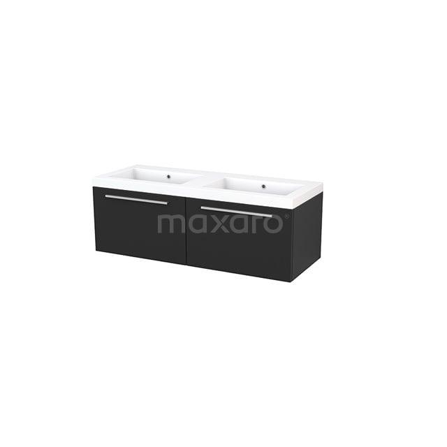 Badkamermeubel 120cm Modulo+ Carbon 2 Lades Vlak Wastafel Mineraalmarmer BMP003694