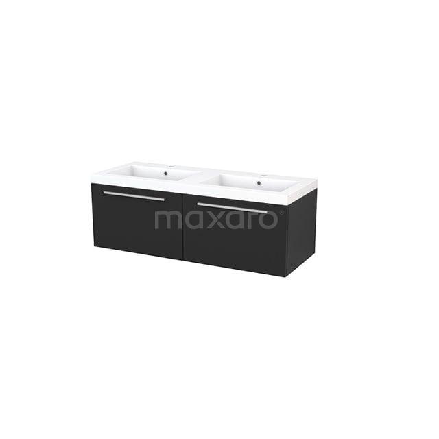 Badkamermeubel 120cm Modulo+ Carbon 2 Lades Vlak Wastafel Mineraalmarmer BMP003695