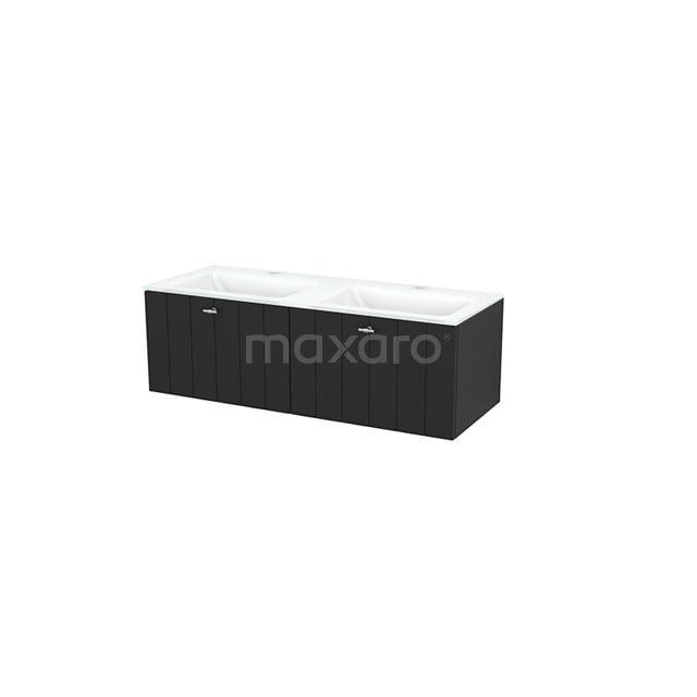 Badkamermeubel 120cm Modulo+ Carbon 2 Lades Lamel Wastafel Glas BMP003700