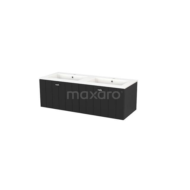 Badkamermeubel 120cm Modulo+ Carbon 2 Lades Lamel Wastafel Keramiek BMP003705