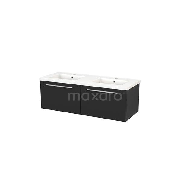 Badkamermeubel 120cm Modulo+ Carbon 2 Lades Vlak Wastafel Keramiek BMP003723