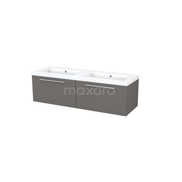 Badkamermeubel 140cm Modulo+ Basalt 2 Lades Vlak Wastafel Mineraalmarmer BMP003822