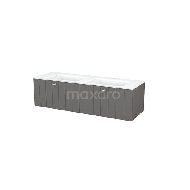 Badkamermeubel 140cm Modulo+ Basalt 2 Lades Lamel Wastafel Glas BMP003826